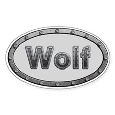 Wolf Metal Oval Decal