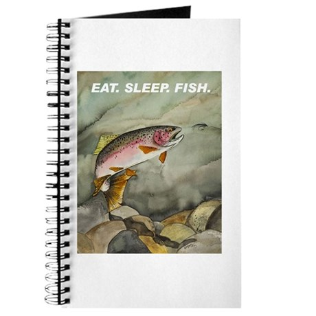 Eat sleep fish rainbow trout journal by flyfishingart for How do fishes sleep
