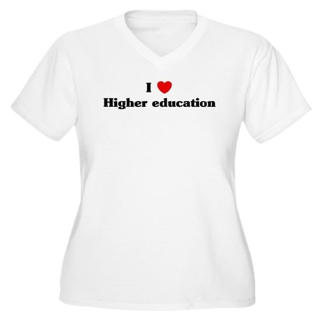 I Love Higher education Women's Plus Size V-Neck T