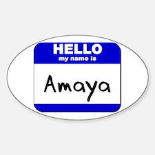 hello my name is amaya Oval Decal