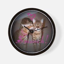 Kitty Smooch Wall Clock