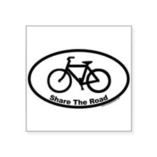 Share The Road Euro Oval Sticker with Bike Sticker
