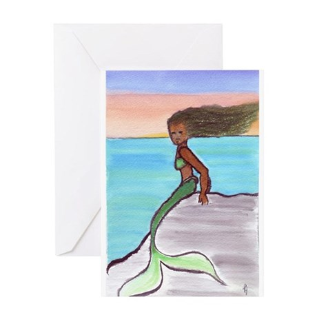 Mermaid at Sunset Greeting Cards