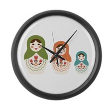 Matryoshka Russian Dolls Large Wall Clock