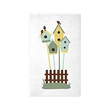 Bird houses 3'x5' Area Rug