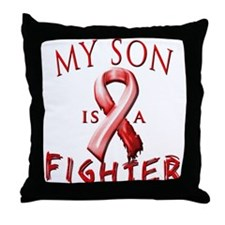 My Son Is A Fighter Red Throw Pillow