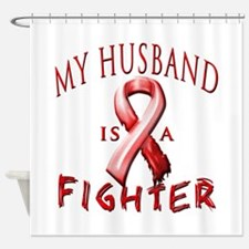 My Husband Is A Fighter Red Shower Curtain