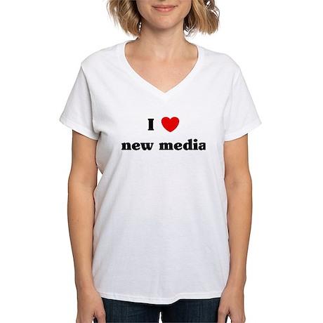 I Love new media Women's V-Neck T-Shirt