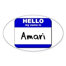 hello my name is amari Oval Decal