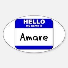 hello my name is amare Oval Decal