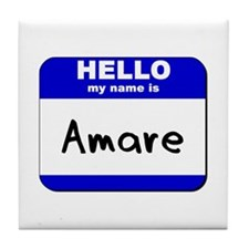hello my name is amare  Tile Coaster