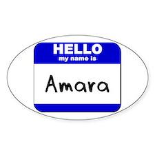 hello my name is amara Oval Decal