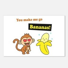 You make me go Bananas, Cute Love Humor Postcards
