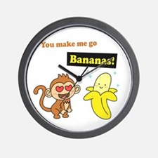 You make me go Bananas, Cute Love Humor Wall Clock