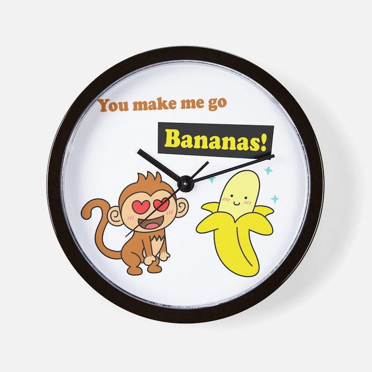 You make me go Bananas, Cute Love Humor Wall Clock