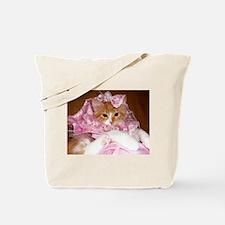 Kitten Wearing Dress Tote Bag
