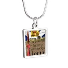 Women's Heavy Athletics Silver Square Necklace
