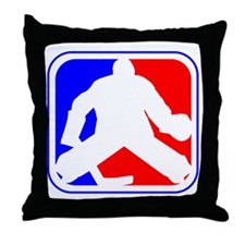 Hockey Goalie League Logo Throw Pillow