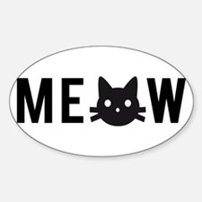 Meow, with black cat face Decal
