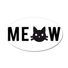 Meow, with black cat face Wall Decal