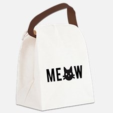 Meow, with black cat face Canvas Lunch Bag