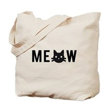 Meow, with black cat face Tote Bag