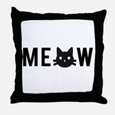 Meow, with black cat face Throw Pillow