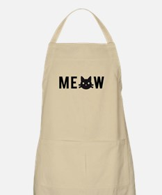 Meow, with black cat face Apron