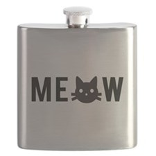 Meow, with black cat face Flask