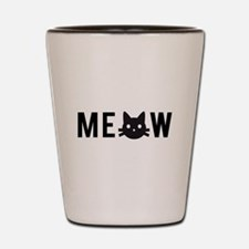 Meow, with black cat face Shot Glass