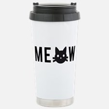 Meow, with black cat face Travel Mug
