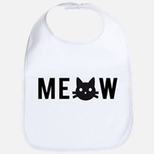 Meow, with black cat face Bib