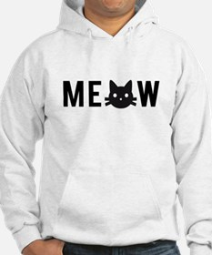 Meow, with black cat face Hoodie