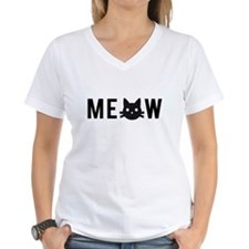 Meow, with black cat face T-Shirt