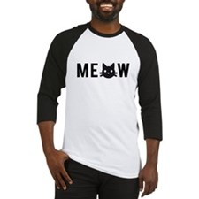 Meow, with black cat face Baseball Jersey