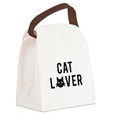 Cat lover with black cat head Canvas Lunch Bag