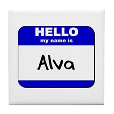 hello my name is alva  Tile Coaster