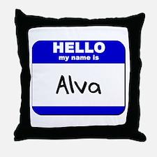 hello my name is alva  Throw Pillow