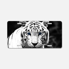 White Tiger Blue Eye Aluminum License Plate