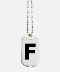 Letter F Black Dog Tags