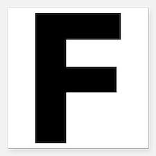 "Letter F Black Square Car Magnet 3"" x 3"""