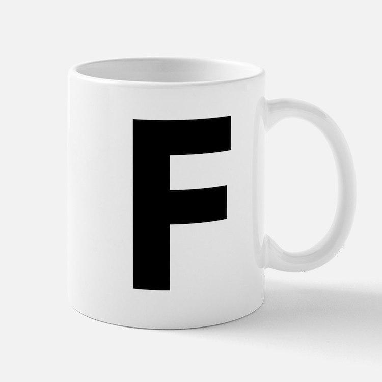 Letter F Black Mugs
