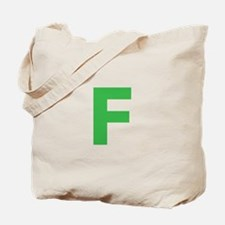 Letter F Green Tote Bag