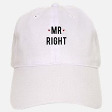 Mr right text design with red hearts Baseball Baseball Baseball Cap