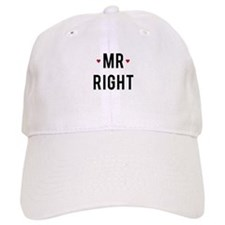 Mr right text design with red hearts Baseball Baseball Cap