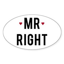 Mr right text design with red hearts Decal