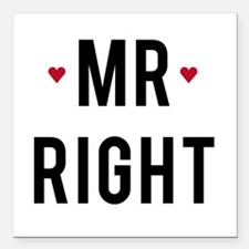 Mr right text design with red hearts Square Car Ma