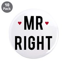 "Mr right text design with red hearts 3.5"" Button ("