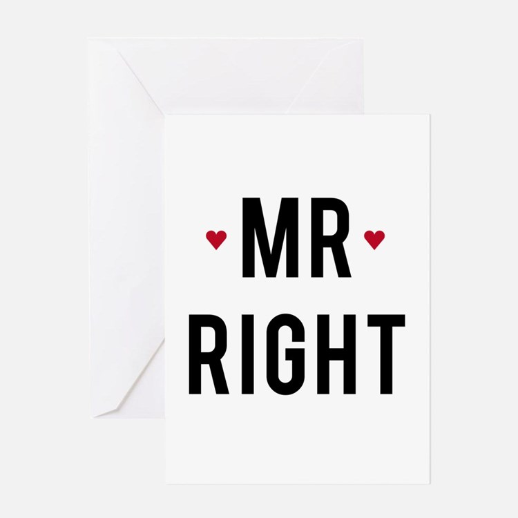 Mr right text design with red hearts Greeting Card