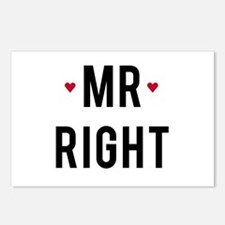 Mr right text design with red hearts Postcards (Pa